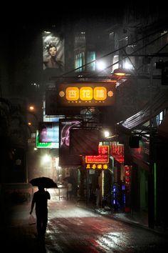 hong_kong_in_the_rain__christophe_jacrot_14 (Si o Si, me hace pensar en Blade Runner)