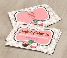 Confetti Cake Pops Business Cards This cute business card design is available for customization. #businesscardmaker