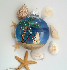 Beach themed Snowman Christmas Ornament Hand painted by SunStroked