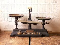 Vintage Pharmacy Scale with Brass Trays and Weight by CopperAndTin