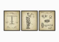 Attorney Office Decor Set Of 3 Prints   The Lady Justice   Law   Lawyer    Solicitor   Barrister   Judge   Court   American Legal System Art