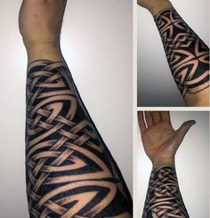 Forearm Sleeve Guys Black Ink Negative Space Celtic Knot Tattoos