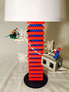 Lego lamp shade maybe i should build two of these while i ponder this is a handmade spiderman lego lamp featured on this lamp is spiderman on aloadofball Choice Image
