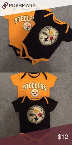 NFL steelers onesies 2 Pittsburgh steelers onesies. Size 3-6 Months. the black one was worn once and the yellow never worn One Pieces Bodysuits