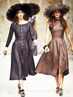Christy Turlington & Helena Christensen walked for Valentino Spring/Summer 1993
