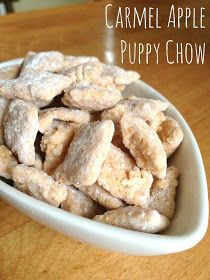 Carmel Apple Puppy Chow - we have to try this Cerulo Cerulo Jones (Heldoorn) Childress Childress Heldoorn Puppy Chow Recipes, Snack Mix Recipes, Fall Recipes, Sweet Recipes, Dessert Recipes, Snack Mixes, Chex Recipes, Recipies, Cereal Recipes