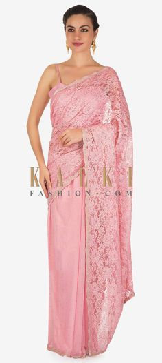 Buy Online from the link below. We ship worldwide (Free Shipping over US$100) Click Anywhere to Tag Half and half baby pink saree in Chantilly lace highlighted in kundan only on Kalki Half and half baby pink saree featuring with pallav in Chantilly lace and other half in satin crepe.Its highlighted in kundan embroidery all over.Matched with unstitched blouse in silk with cut dana border. Indian Saris, Indian Wear, Baby Pink Saree, Pakistani Lawn Suits, Sari Dress, Net Saree, Chantilly Lace, Half Saree, Party Wear Sarees