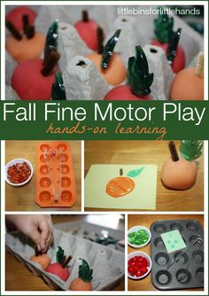 Pumpkins & Apples Fine Motor Skills Games Fall Themed Early Learning Simple Play To Encourage Fine Motor, Visual Processing, And Counting Skills! This past week, I created three different games for us to play together (or even . Fine Motor Activities For Kids, Autumn Activities For Kids, Motor Skills Activities, Fall Preschool, Fine Motor Skills, Preschool Activities, Homemade Playdough, Early Learning, Sensory Play