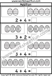 Easter Addition Worksheet – Sums up to 10 – One Worksheet