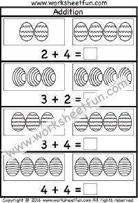 Easter Addition Worksheet – Sums up to 10 – One Worksheet