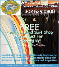Welcome to our Fenwick Island Surf Shop Fenwick Island DE page… Fenwick Island Surf Shop Address: 205 Coastal Hwy Fenwick Island, DE 19944 [Map] Phone: Email: Call Hours: am – pm Open: Year-Round Products Fenwick Island, Local Hotels, Ocean City Md, Gift Coupons, Hotel Deals, Surf Shop, Surfboard, Trip Advisor, Surfing