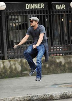 And Leo doing his usual jig. | Celebrities Riding Invisible Bikes Is Weirdly Hilarious