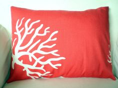 Throw Pillow Decorative Pillows Accent Pillows Cushion Covers Coral White Lumbar BOTH SIDES - One 12 x 16