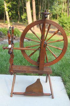 Early 1900s J. Farnham Wooden Spinning Wheel (after light restoration)