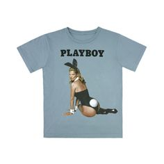 Marc Jacobs unveils Kate Moss Playboy tshirt Luxurylaunches ❤ liked on Polyvore featuring tops, t-shirts, shirts, blue t shirt, blue shirt, marc jacobs tee, marc jacobs t shirt and tee-shirt
