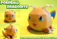 Easy Pokemon Papercraft | Another ball craft, this time it's the Pokémon Dragonite. Download ...
