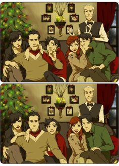 Christmas at the Wayne Manor! (left to right. Saline Kyle, Bruce Wayne, Damian…