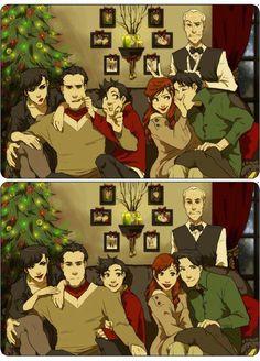 Christmas at the Wayne Manor! (left to right. Saline Kyle, Bruce Wayne, Damian…