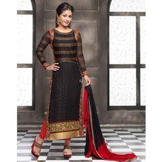 Hina Khan Black Crepe Churidar Kameez With Dupatta - TheEthnicWear