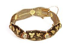 Niello Spanish Damascene Bracelet Vintage 1950s by boboCOLLECTED