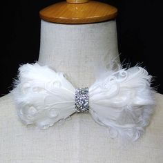 453396c4ac33 White feather bow tie, ON Stage decoration, feather bowtie, White bowtie,  White prom bowtie, dream up idea, BT16004
