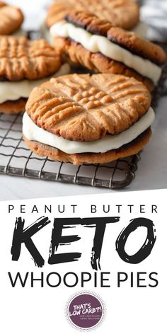 Low Carb Peanut Butter Whoopie Pies are your childhood dreams come true. Keto , , Low Carb Peanut Butter Whoopie Pies are your childhood dreams come true. Low Carb Peanut Butter Whoopie Pies are your childhood dreams come. Keto Friendly Desserts, Low Carb Desserts, Low Carb Recipes, Dessert Recipes, Diet Recipes, Peanut Recipes, Recipes Dinner, Healthy Recipes, Quick Keto Dessert