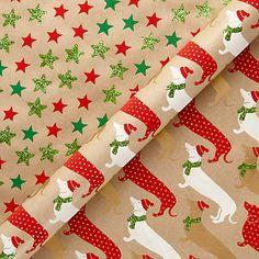 Buy Vivid Sausage Dog & Star Christmas Gift Wrap, 2m, Pack of 2 Online at johnlewis.com