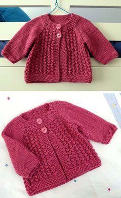 Baby Cardigan Knitting Pattern Free, Knitting Baby Girl, Baby Boy Knitting Patterns, Mittens Pattern, Knitting For Kids, Baby Knitting Patterns, Knitting Yarn, Free Knitting, Crochet Baby