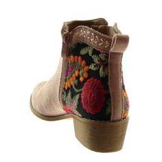 Angkorly - Chaussure Mode Bottine bottes indiennes chelsea boots femme fleurs perforée brodé Talon haut bloc 4 CM - Rose clair - Rose Rose clair - Achat / Vente bottine - Soldes* dès le 27 juin ! Cdiscount