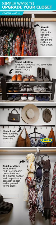 Simple ways to upgrade your closet with help from the IKEA Home Tour Squad! Slim hangers, smart shoe storage, hooks for added accesibility and multi-use hangers all make your closet more organized!