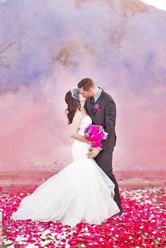 Pastel smoke bombs made for one of the most unique bride and groom photos! Berry Wedding, Purple Wedding, Trendy Wedding, Wedding Colors, Dream Wedding, Wedding Bells, Wedding Portraits, Wedding Photos, Wedding Gallery