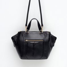 Zara Leather City Bag With Zips (€105) via Polyvore featuring bags, handbags, 100 leather handbags, leather bags, zara handbags, leather handbags and zara purse