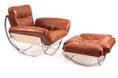 Mid Century Retro Vintage Butterscotch Leather Chrome Lounge Armchair Chair and Ottoman | Pinned by 360 Modern Furniture