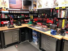 Metal Pegboard Standard Tool Storage Kit - Black Toolboard with Hooks - Workbench Heaven! This new, well organized workspace is opened for business! The Wall Control Pegbo - Pegboard Garage, Pegboard Craft Room, Metal Pegboard, Garage Storage Shelves, Garage Storage Solutions, Garage Tools, Garage Shop, Garage Organization, Kitchen Pegboard