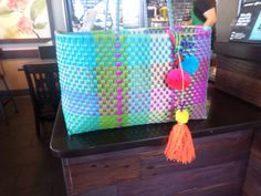Mexican Market Bag, Beach bag, summer tote, Plastic tote, Plastic Woven Tote, by Hechoamanoart22 on Etsy