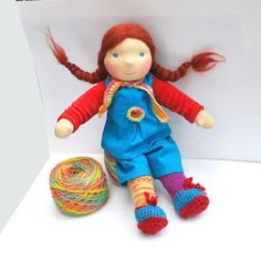 Waldorf doll Pippi longstocking in red / blue by LaFiabaRussa on etsy.