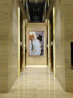 Stone Elevator Lobby with Lighting Detail and Art work Hall Hotel, Hotel Corridor, Hotel Lobby, Lobby Interior, Interior Exterior, Hotel Interiors, Office Interiors, Commercial Design, Commercial Interiors