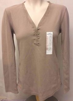EDDIE BAUER Beige Long Sleeve Thermal Henley Top Womens Size S Small #EddieBauer #KnitTop #Casual