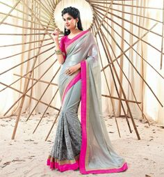 """Bollywood is one of the greatest factor influencing Indian Fashion. Get this Beautiful Saree from the Movie """"Holiday"""" featuring """"Akshay Kumar"""" and """"Sonakshi Sinha"""" in lead roles. This Saree is created from gorgeous Grey shimmer material and has Thread Work and Patch Patta Work."""