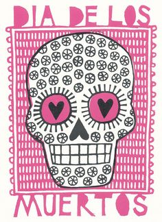 Mexican day of the dead sugar skull lino print