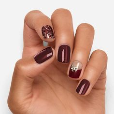 Burgundy Nail Designs, Fall Nail Art Designs, Burgundy Nails, Acrylic Nail Designs, Deep Burgundy, Acrylic Nails, Nail Designs For Winter, Sparkle Nail Designs, Shellac Nail Art