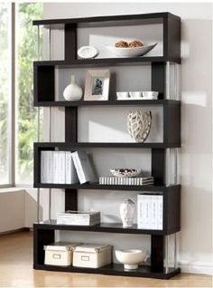 Wooden Bookcase 6 Shelf Library Book Storage  Modern Picture Trophy Display Unit #Modern