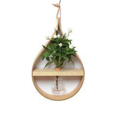 Teardrop Hanging Vase with Conical Flask Decor, White Vase Decor, Wooden Vase, Wall Vase, Clear Glass Vases, Decorative Items, Decorative Jars, Diy Flower Pots, Vases Decor