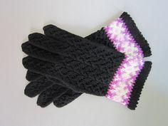 Black Wool Hand Knit Gloves