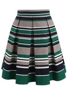 Pleated Skirt Pattern, Pleated Midi Skirt, Stripe Skirt, Unique Fashion, Vintage Fashion, Fashion Fashion, Vintage Style, African Print Fashion, Cute Skirts