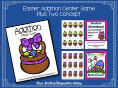 Easter Addition Center - Plus Two Concept ~ Quick and Easy to Make Centers! #TPT $Paid