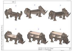 CNC cutting templates for plywood rhinoceros por CNCvector en Etsy
