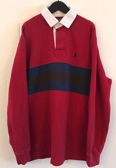 f7e01359f84 POLO Ralph Lauren Vintage Long Sleeve Fleece Lined Bold Stripe LS Rugby  Shirt L