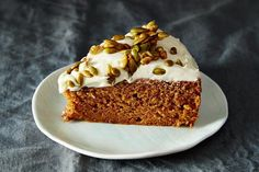 Pumpkin Cake with Cream Cheese Icing and Caramelized Pumpkin Seeds, a recipe on Food52