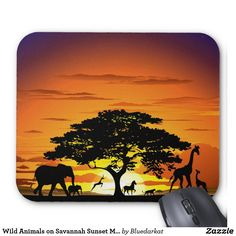 SOLD! #wild #animals on #Savanna #Sunset #Mousepads - #Design by #BluedarkArt > https://www.zazzle.com/wild_animals_on_savannah_sunset_mousepad-144595365015585598     Many Thanks to the Buyer! :)   @zazzle